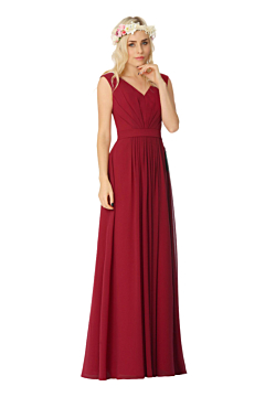 LANICO V-neck Neckline Criss-Cross ruching Style Floor Length Bridesmaid Dress Evening Dress - LN2018