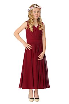 LANICO KID/JUNIOR V-neck Neckline Criss-Cross ruching Style Flower Girl Dress Junior Bridesmaids Dress-LN2018JN