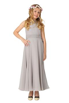 LANICO KID/JUNIOR high Neckline tie back detail Ruching Style Flower Girl Dress Junior Bridesmaids Dress - LN2019JN