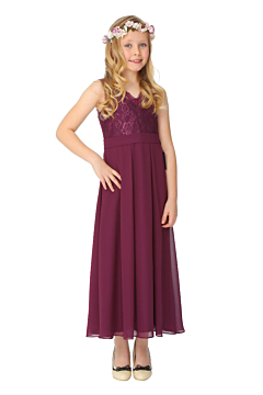 LANICO KID/JUNIOR V-neck Neckline Lace Ornament With Flower Pattern Backless Details Flower Girl Dress Junior Bridesmaids Dress-LN2021JN