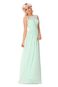 LANICO Transparent Regular Straps Boat Neckline Ruching Style Floor Length Bridesmaid Dress Evening Dress - LN2022