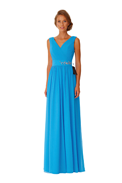LANICO V-Neck Neckline With Criss-Cross Ruched Crystal Floral Pin Details Full length dress Bridesmaid Dress Evening Dress - LN2051
