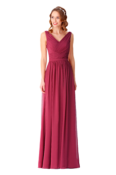 LANICO V neck A line bridesmaid dress with V back - LN2066