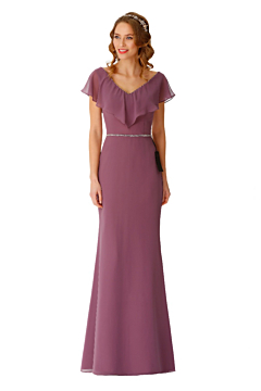 LANICO V neck with ruffles fitted bridesmaid dress with silver beadings - LN2067