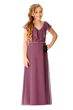 LANICO V neck with ruffles Junior bridesmaid dress - LN2067JN