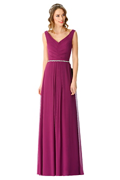 LANICO elegant  V neck and V back with buttons bridesmaid dress - LN2068