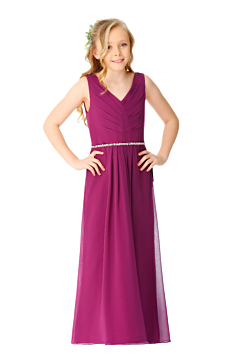 LANICO V neck and V back with buttons junior bridesmaid dress - LN2068JN