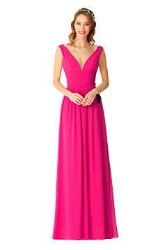 LANICO LOW V neck open back bridesmaid dress with buttons - LN2069