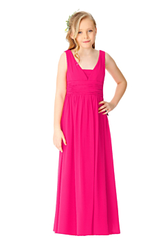 LANICO V neck junior bridesmaid dress with buttons - LN2069JN