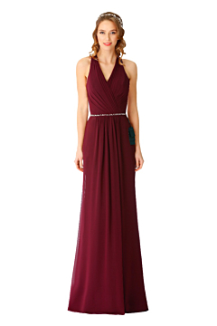 LANICO halterneck V neckline bridesmaid dress with draped back design - LN2070