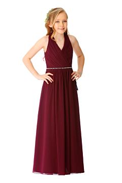 LANICO Halterneck V neckline  junior bridesmaid dress with draped back design - LN2070JN