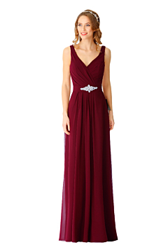 LANIOCO V neck line bridesmaid dress with straps - LN902