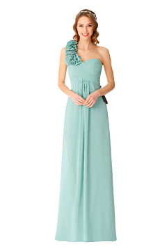 LANICO one shoulder A line bridesmaid dress with big flowers - LN903